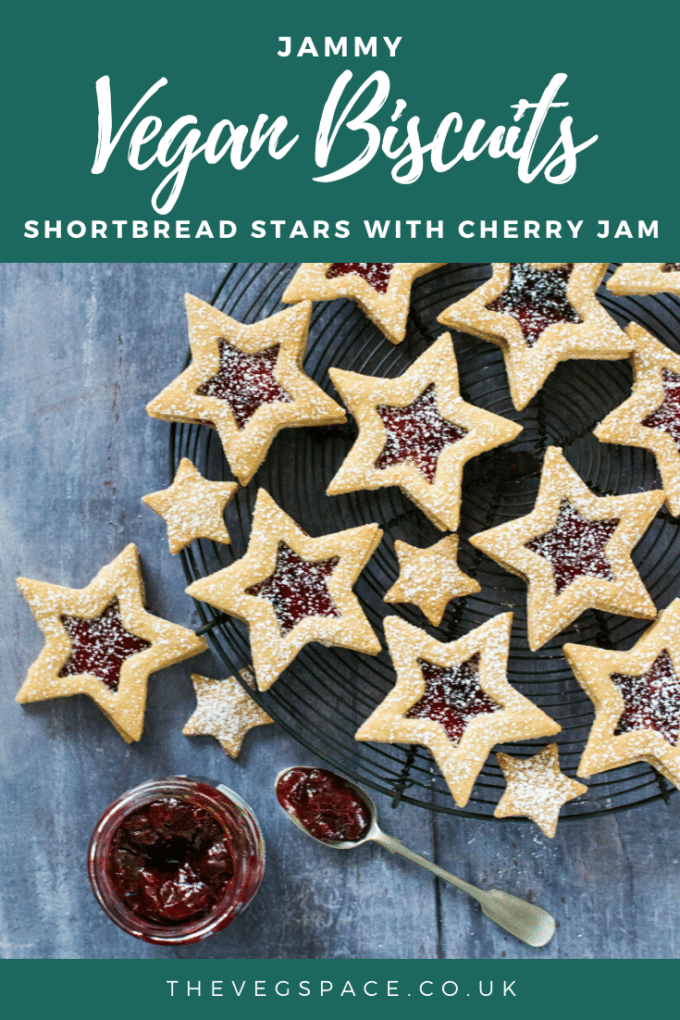 Vegan Biscuits | Jammy shortbread stars with cherry jam - so easy even kids can make them!