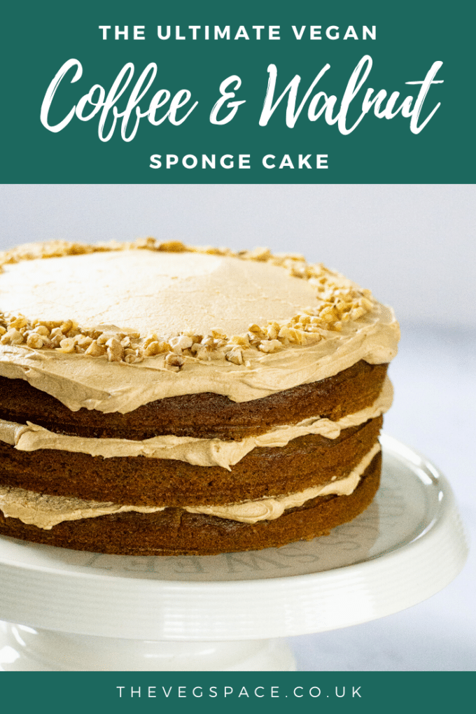 Vegan Coffee Cake - this light and moist vegan coffee & walnut cake is easy to make and totally delicious! #vegan #TheVegSpace