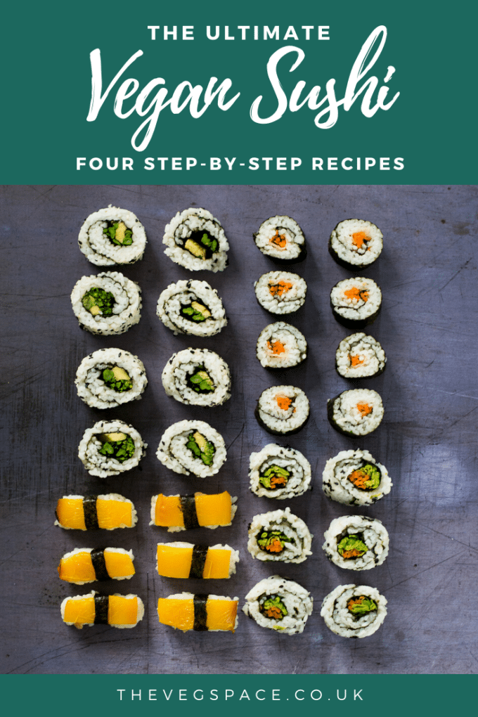 Easy Vegan Sushi - 4 recipes with step-by-step instructions #vegan #TheVegSpace