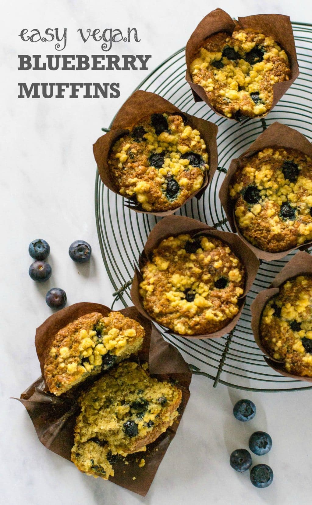These easy Vegan Blueberry Muffins with Streusel Topping are totally more-ish and so easy to make. #vegan #plantbased   thevegspace.co.uk