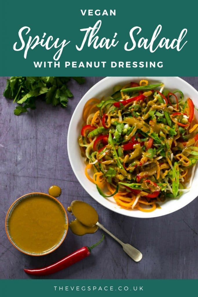 This Spicy Thai Salad with Peanut Dressing is fresh, zingy and easy to make! #vegan #plantbased | thevegspace.co.uk