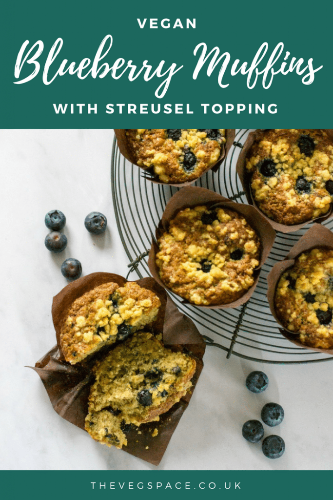 These easy Vegan Blueberry Muffins with Streusel Topping are totally more-ish and so easy to make. #vegan #plantbased | thevegspace.co.uk