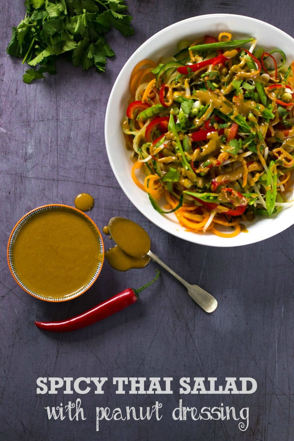A Spicy Thai Salad with Peanut Dressing - #vegan #plantbased | thevegspace.co.uk