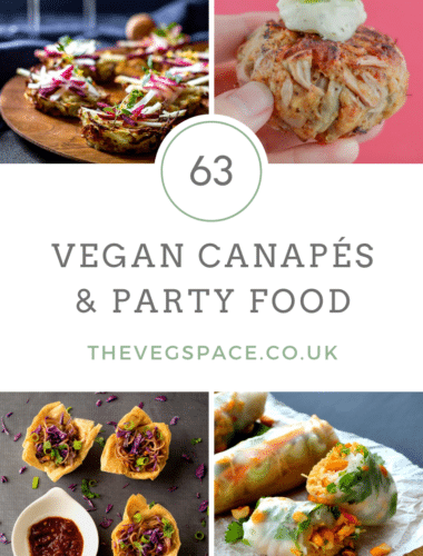 The best recipes for vegan canapés and party food - from elaborate, showstopping canapés to easy throw-it-all-together vegan party snacks. All you need now is the prosecco! #Vegan #TheVegSpace
