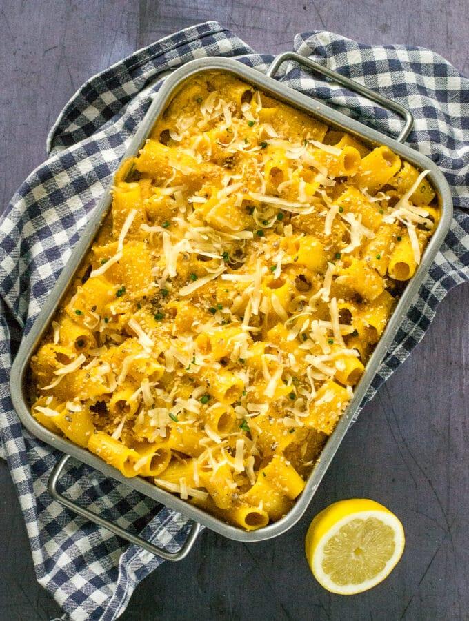 Butternut Squash Mac and Cheese in baking tin