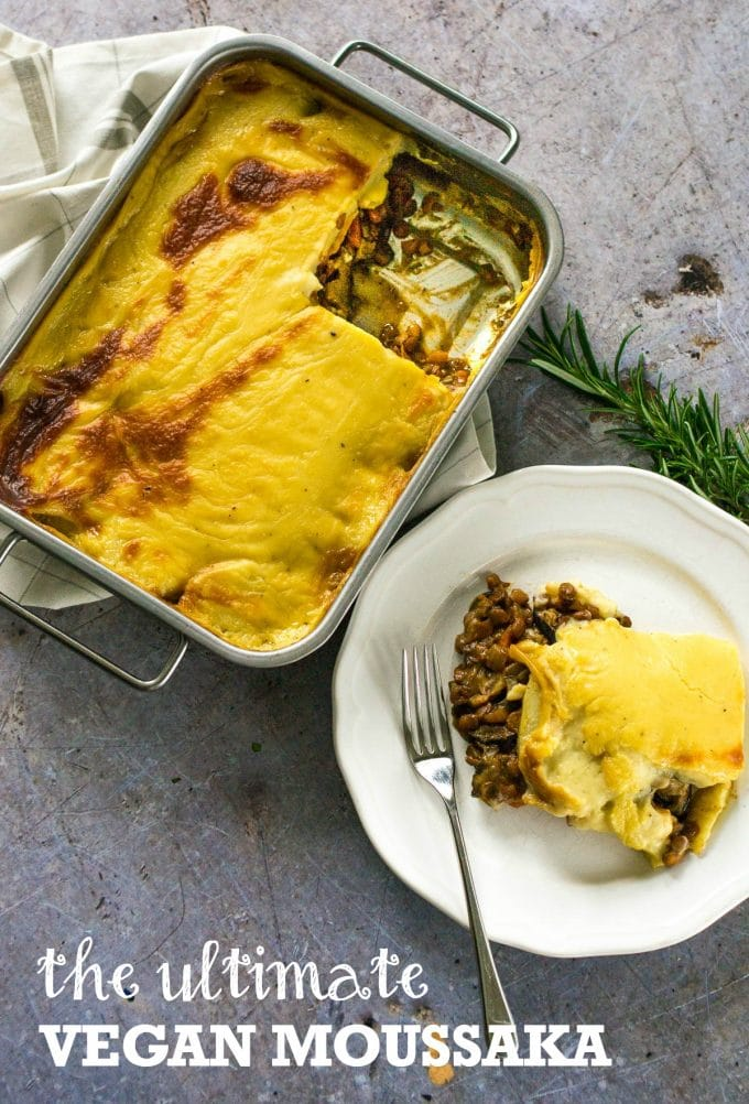 The Ultimate Vegan Moussaka with red wine and lentils, and a creamy bechamel #vegan #plantbased | www.thevegspace.co.uk