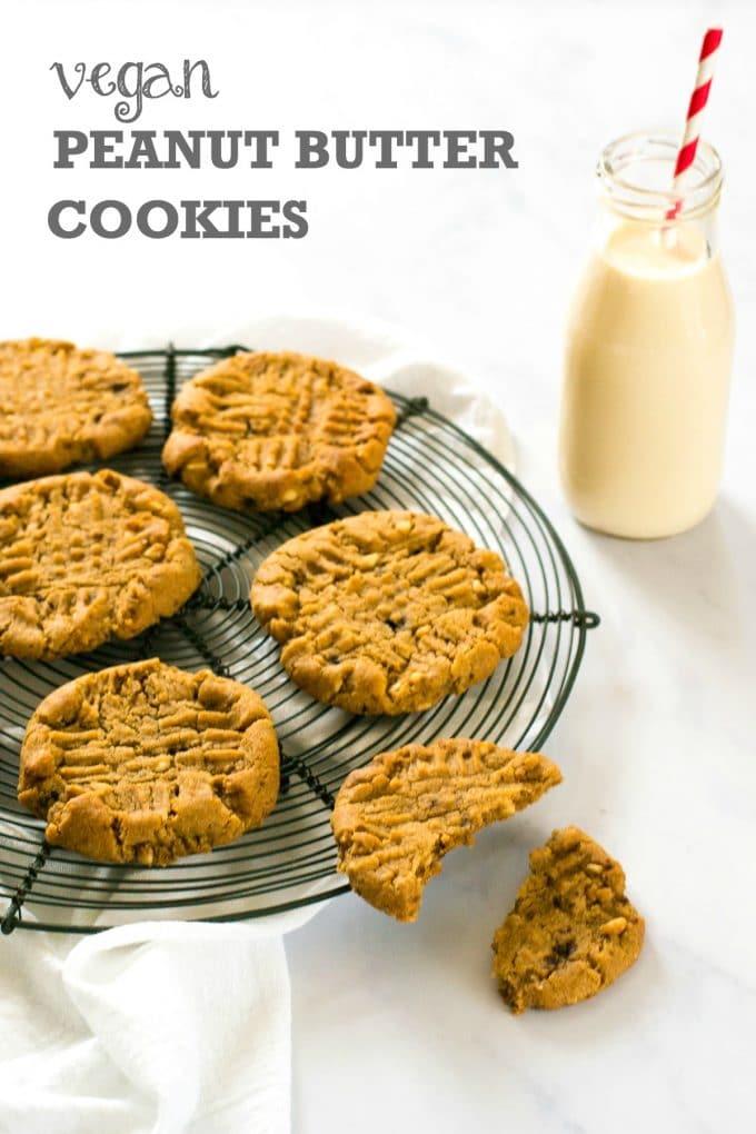 These chewy vegan peanut butter cookies are totally moreish and so easy to make! #vegan #plantbased #veganfood #peanutbutter
