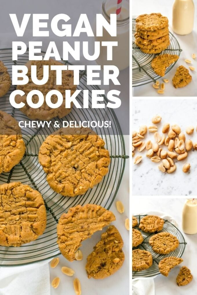 These soft and chewy vegan peanut butter cookies make the perfect protein-packed after-school snack. You won't be able to stop at just one! #Vegan #TheVegSpace