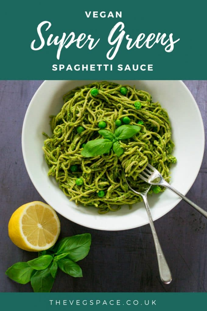 This super-green vegan spaghetti sauce is made in the time it takes your spaghetti to cook, the ultimate no-fuss speedy weeknight supper, that's nutritious and delicious. #vegan #plantbased #veganfood #vegetarian
