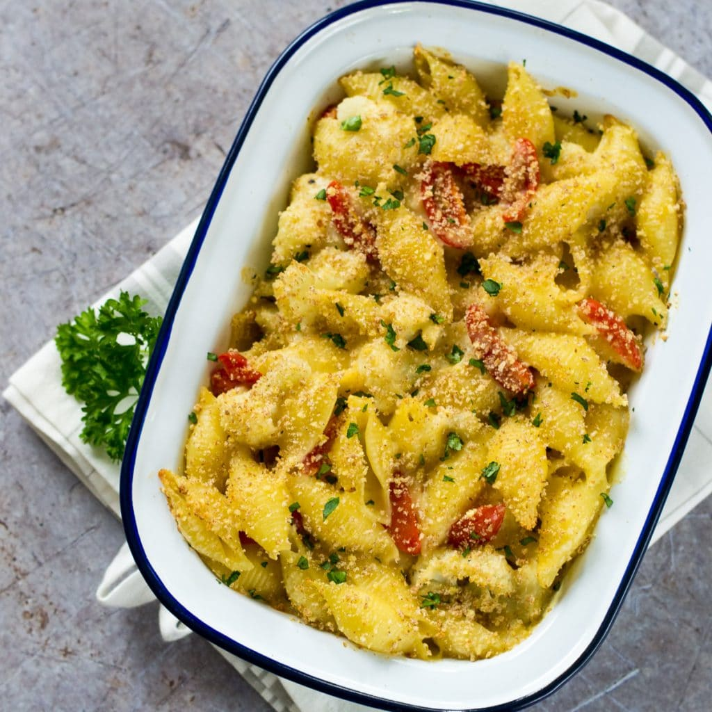 This creamy Cauliflower Cheese Vegan Pasta Bake is so simple to make and totally delicious. #vegan #plantbased #veganfood #vegetarian