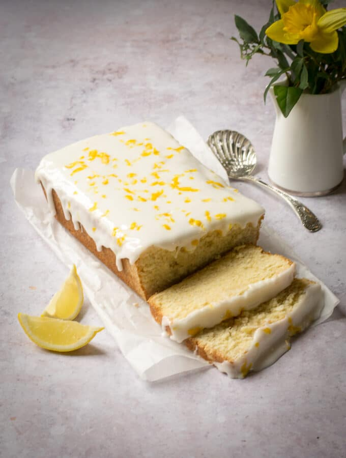 Lemon Drizzle sliced with icing