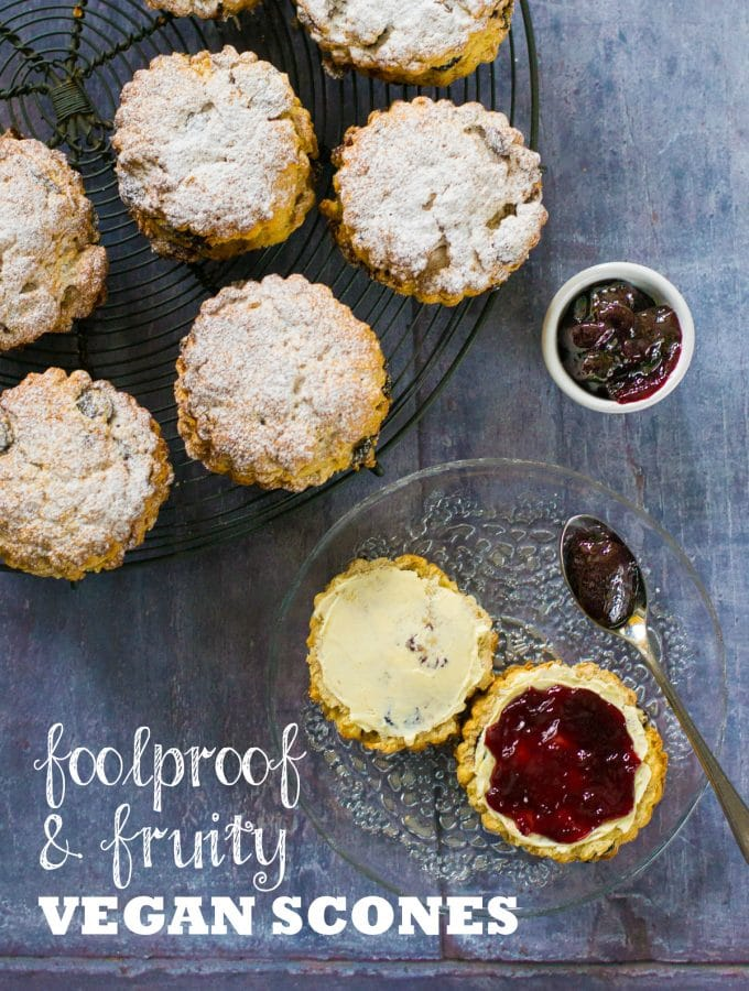 These easy vegan scones are jam-packed with fruit, just sweet enough and rich and 'buttery'. No one will guess they are vegan! #veganfood #plantbased #scones #veganbaking