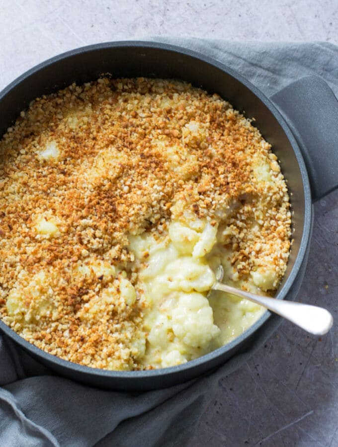 Cauliflower Cheese with vegan cheese sauce