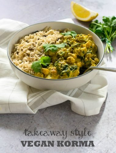 This authentic takeaway-style vegan korma uses coconut yoghurt and cashews to create a rich and tangy sauce, with delicious spices and your choice of veg and pulses. Easy but showstopping curry #vegan #plantbased #indian #curry #vegetarian