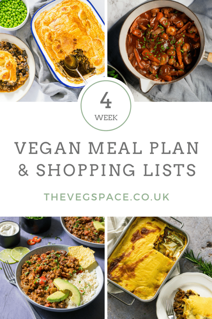 Vegan Meal Plan with shopping lists