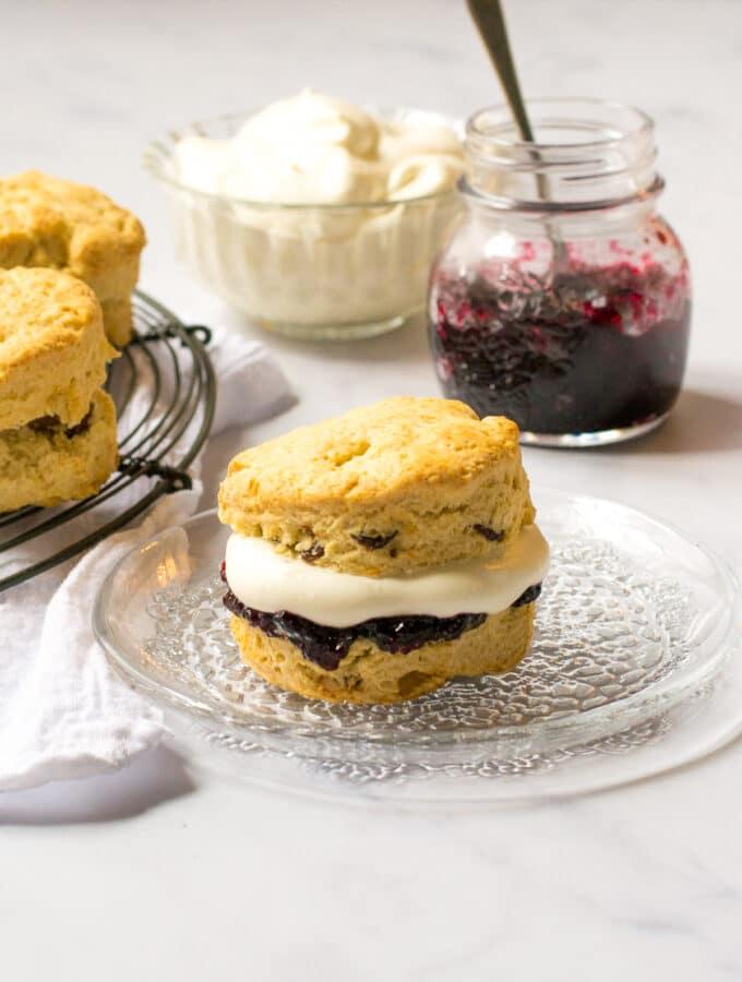 Vegan Scones with cream and jam