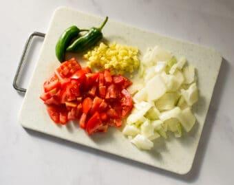 chopped onion and tomato