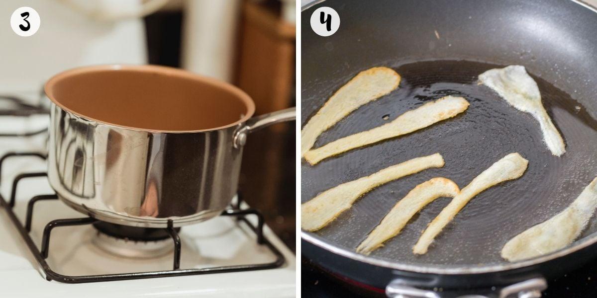 Blitz in saucepan and make parsnip crisps