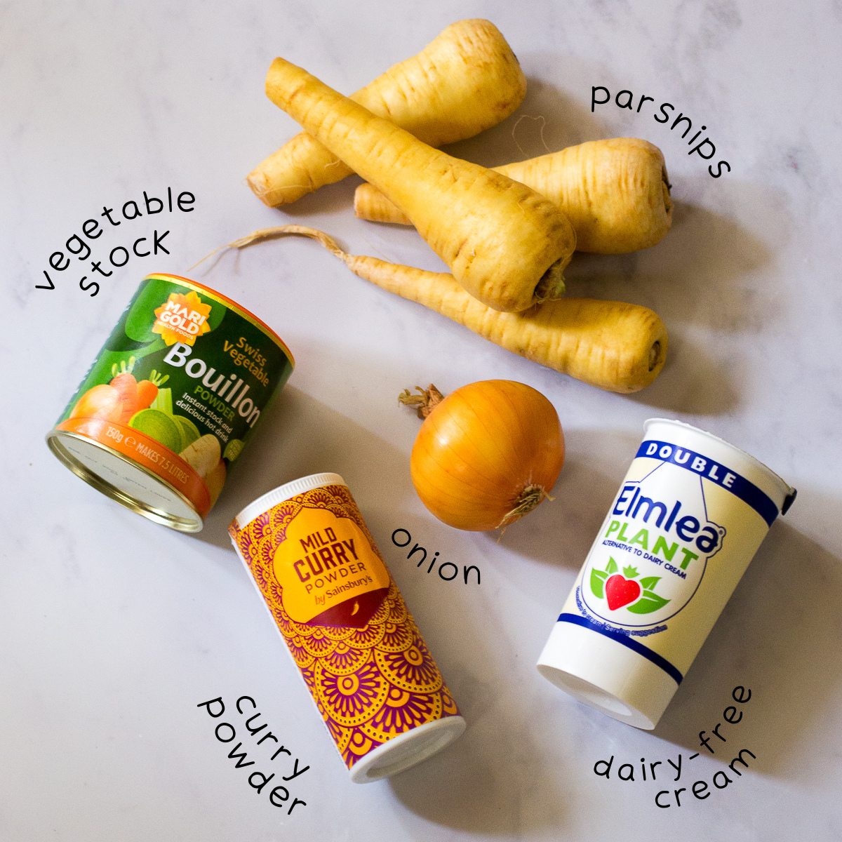 Ingredients for curried parsnip soup