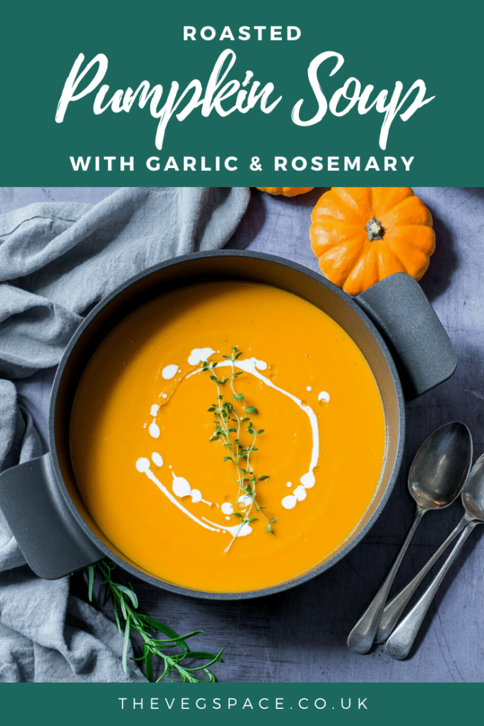 Roasted Pumpkin Soup with garlic and rosemary - creamy and delicious, perfect for leftover halloween pumpkin flesh! #Vegan #TheVegSpace