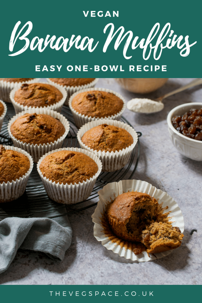 These light and fluffy Vegan Banana Muffins are so easy to make - a one-bowl recipe with step-by-step photos #Vegan #TheVegSpace