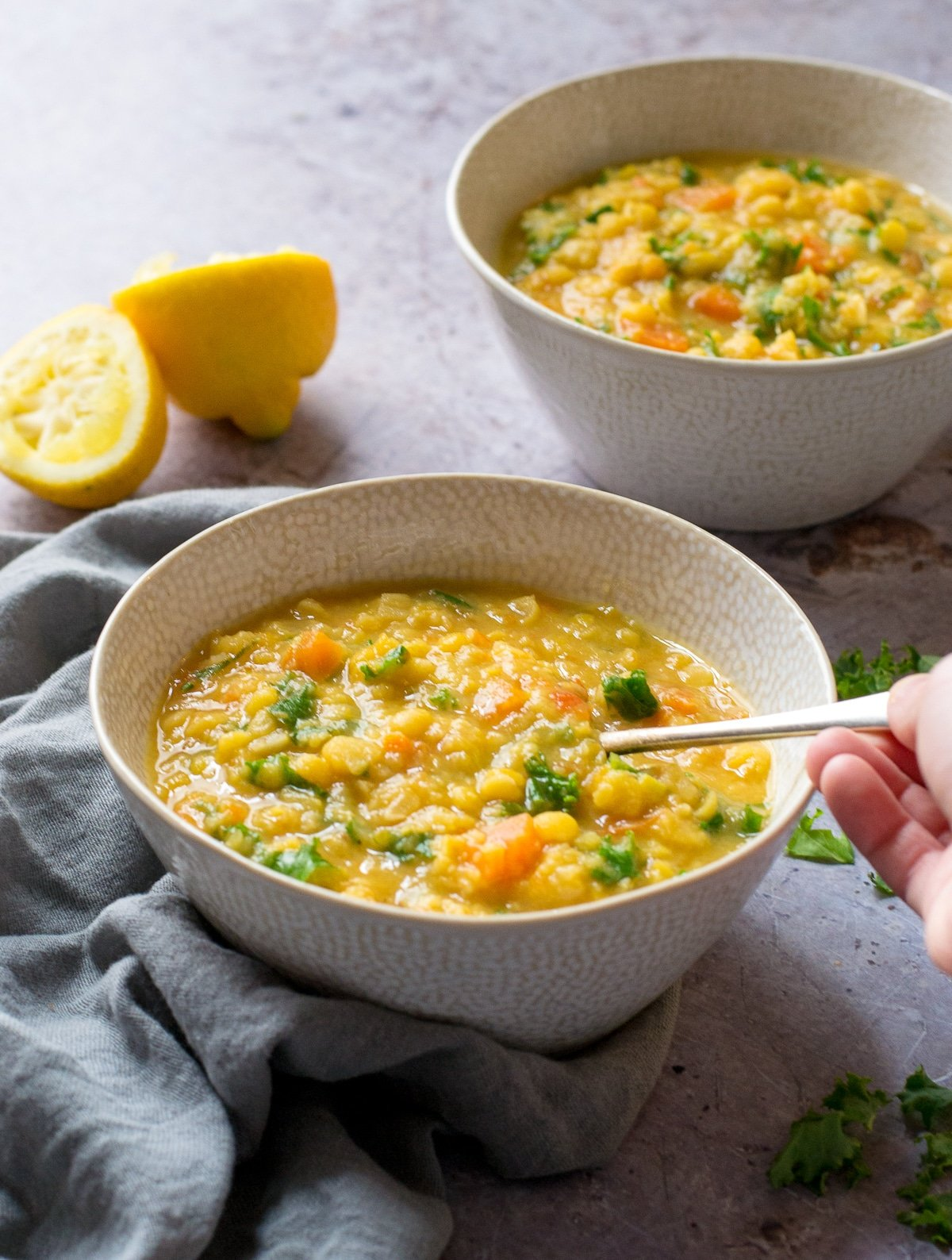 Taking a spoonful of Split Pea Soup