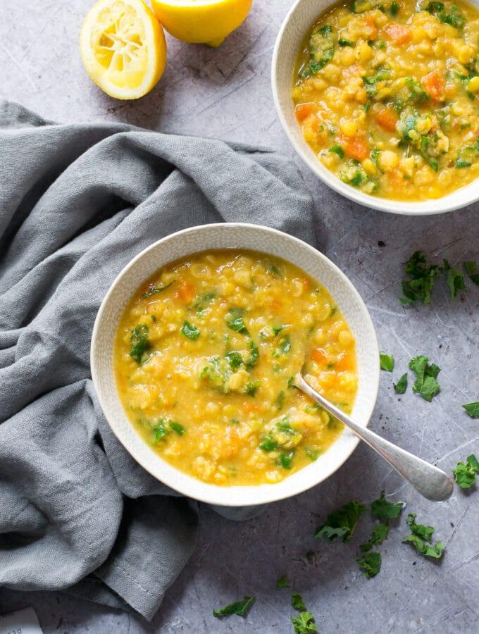 Two bowls of Split Pea Soup