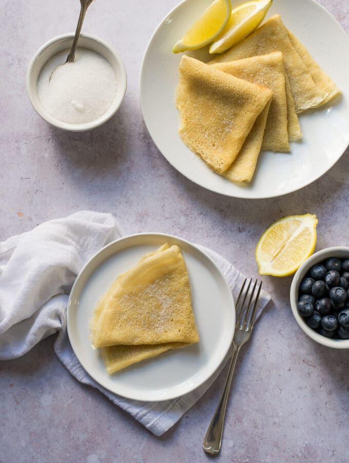 Vegan Crepes with lemon and sugar