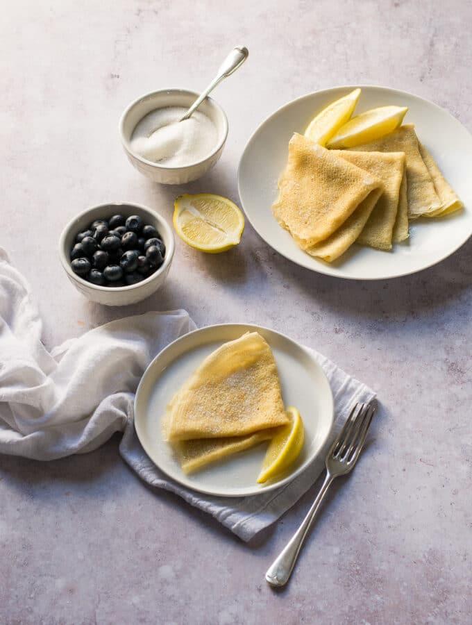Easy Vegan Pancakes with sugar and lemon