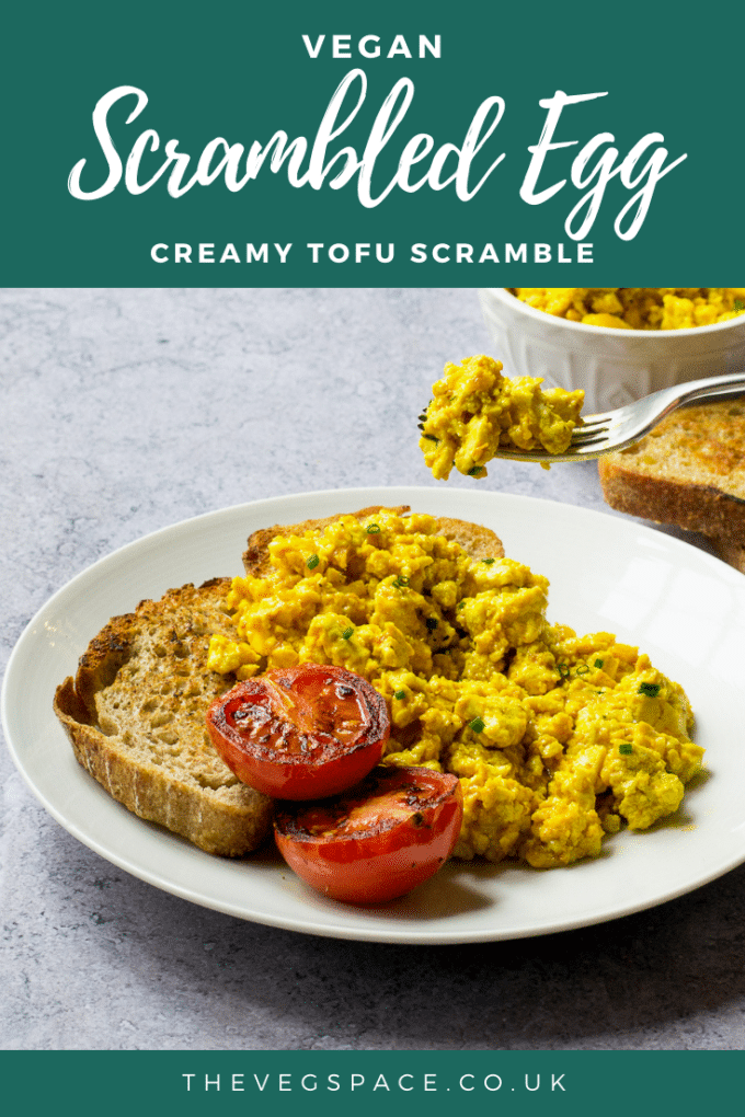 Creamy Vegan Scrambled Eggs - made from crumbled tofu - delicious and filling, perfect for a vegan breakfast or brunch #vegan #TheVegSpace