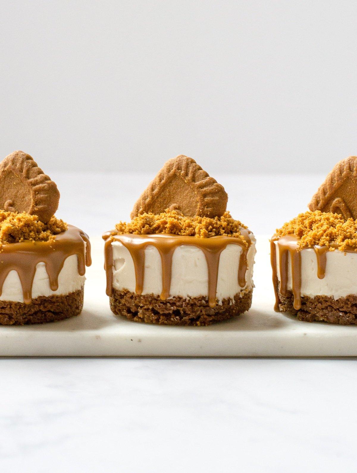 three mini Biscoff Cheesecakes