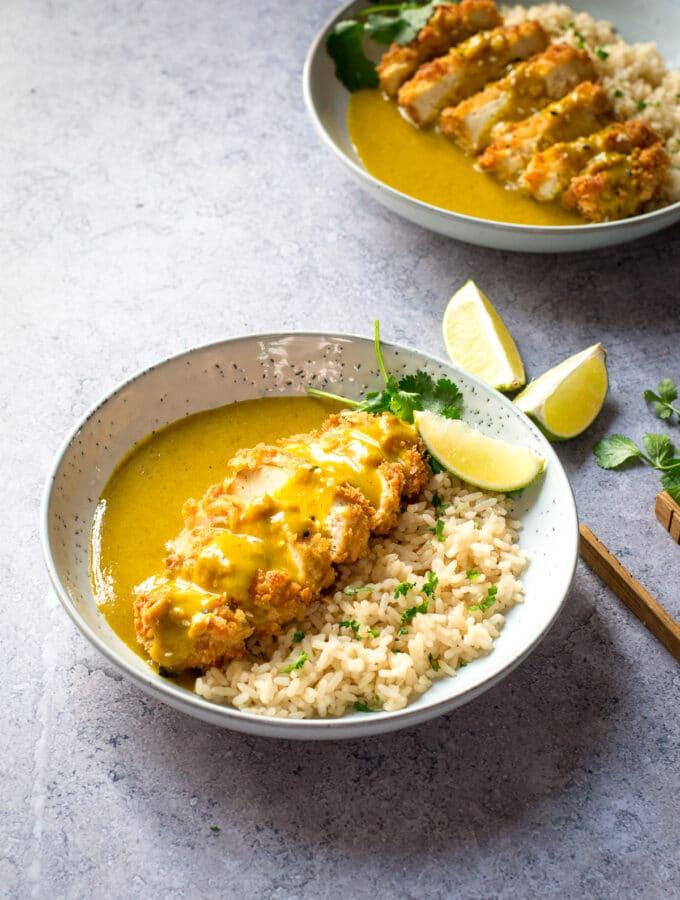 Two plates of Vegan Katsu Curry