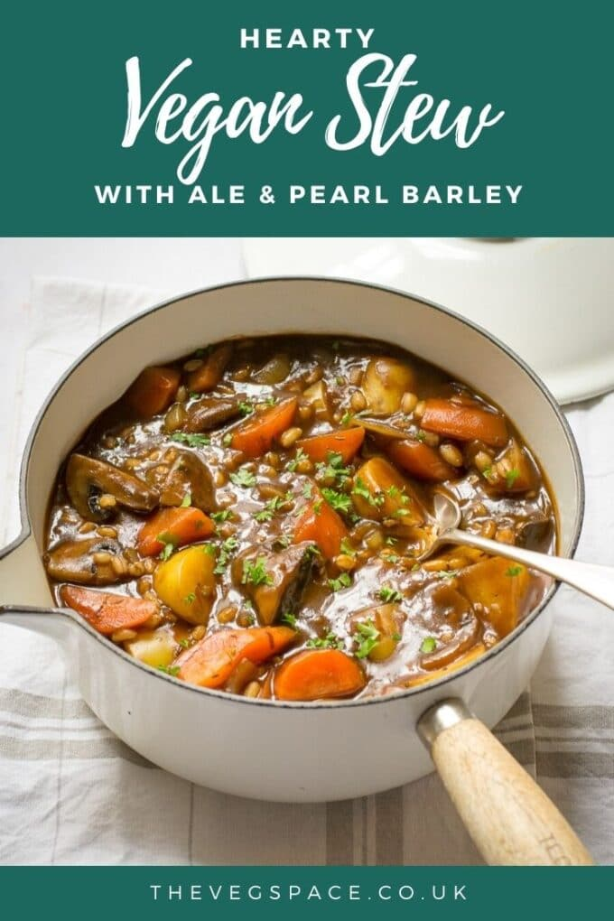 This hearty vegan stew is easy and delicious - make it in a slow cooker or on the stovetop. Chestnut mushrooms, vegetables and pearl barley in a thick, beery gravy. #Vegan #TheVegSpace