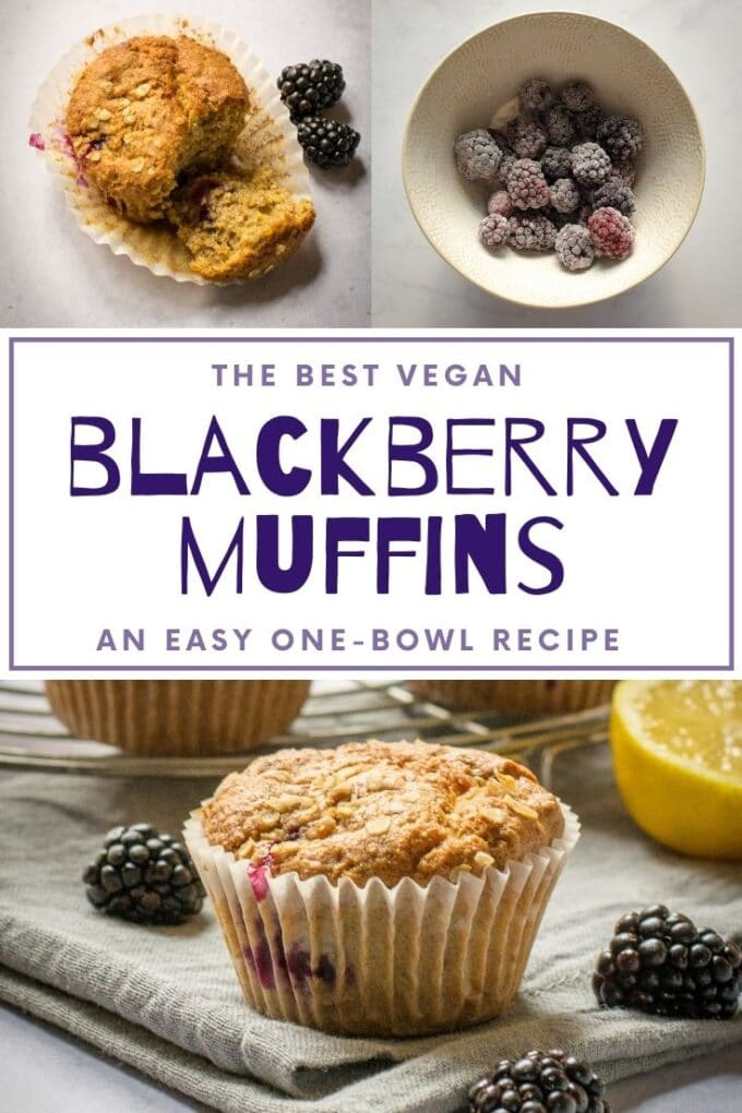 These vegan blackberry muffins are so soft and so moist - a delicious way to use up freshly picked blackberries, or use frozen berries instead! #Vegan #TheVegSpace