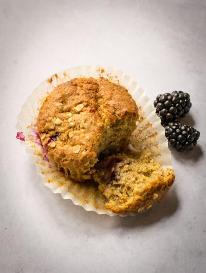 Half eaten blackberry muffin