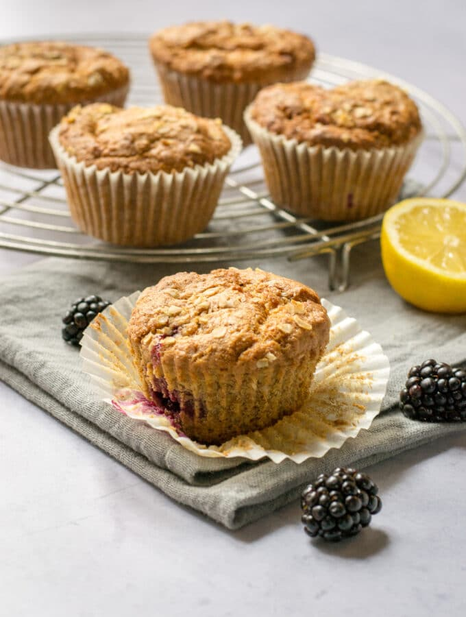 Muffin case open with vegan muffin