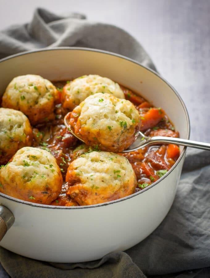 Vegan Suet Dumplings steamed over a stew