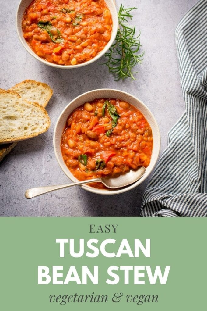 This delicious Tuscan Bean Stew is such an easy one-pot dinner. Packed with flavours of Italy, it can be made on the hob or slow cooker. #TheVegSpace #Vegan
