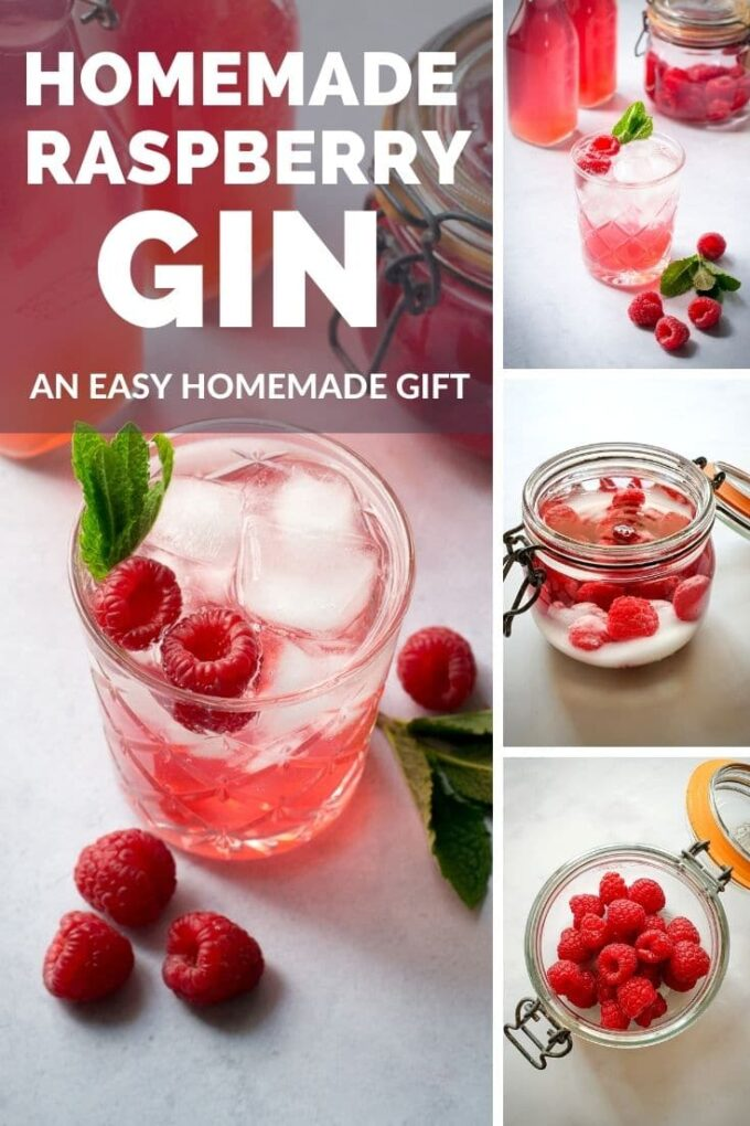 This pretty pink raspberry gin makes a beautiful gift. A lovely way to use up surplus raspberries from the garden. Perfect with tonic water or as a base for a fruity cocktail. #Gin #TheVegSpace