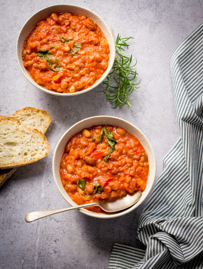 Tuscan Beans in two bowls