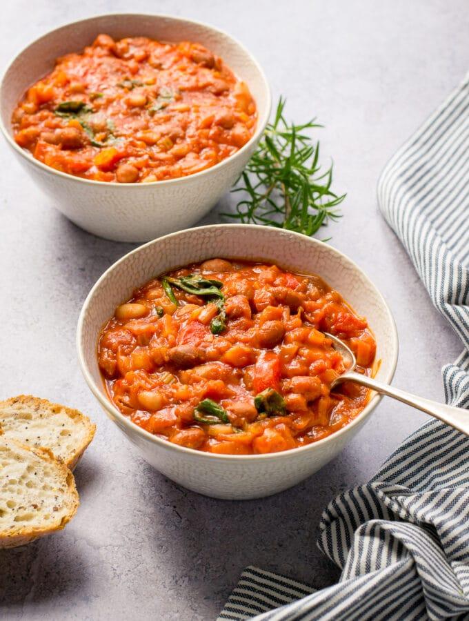 Spoonful of vegan tuscan bean stew