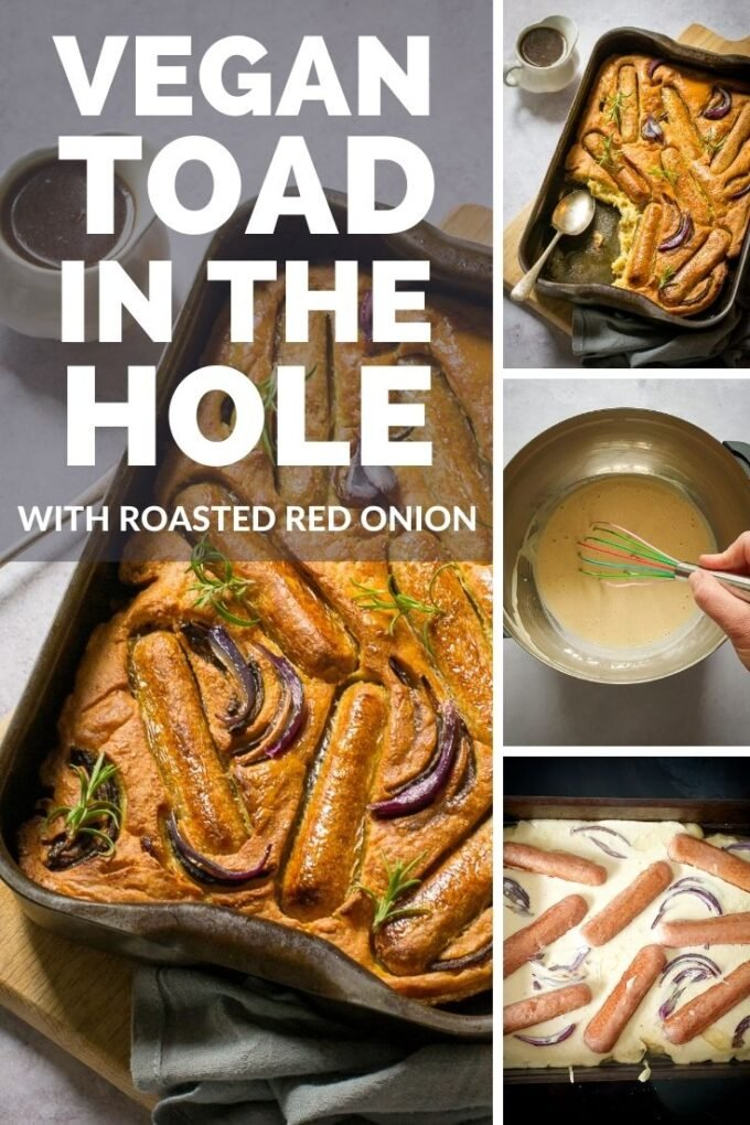 Pinterest pin for vegan toad in the hole