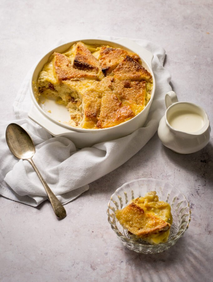 Easy Vegan Bread and Butter Pudding with portion removed