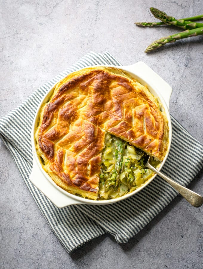 Spring Vegetable Pie with slice removed