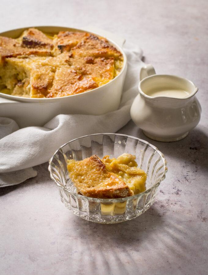 Vegan Bread Pudding single serving in bowl