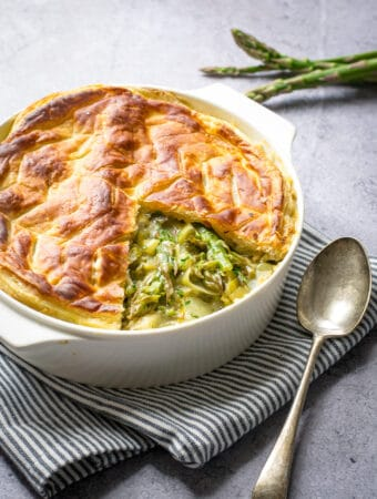 Close up image of vegetables pie with spoon