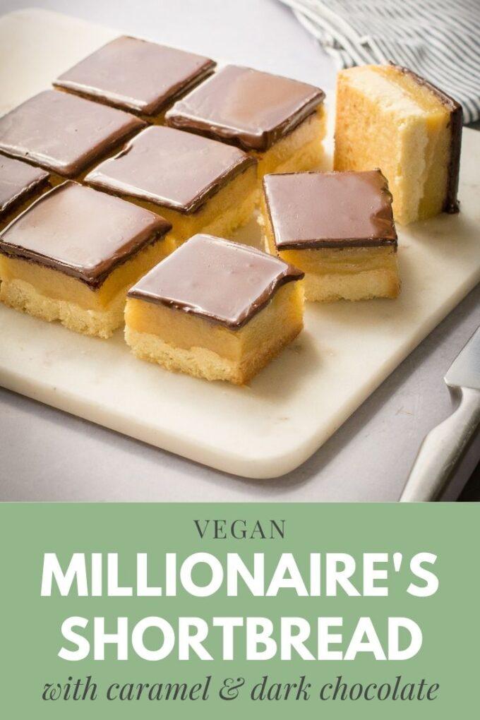 Pinterest pin for vegan caramel millionaires shortbread