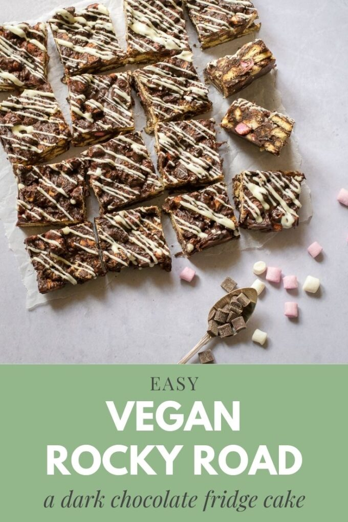 Pinterest pin for vegan rocky road recipe