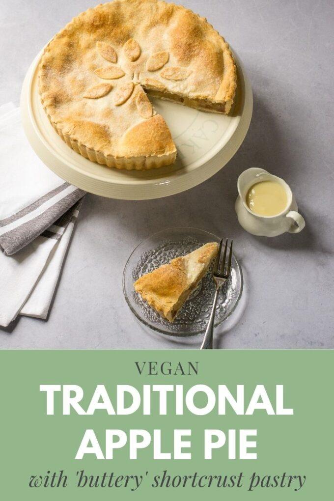 Pinterest pin for traditional apple pie (vegan)
