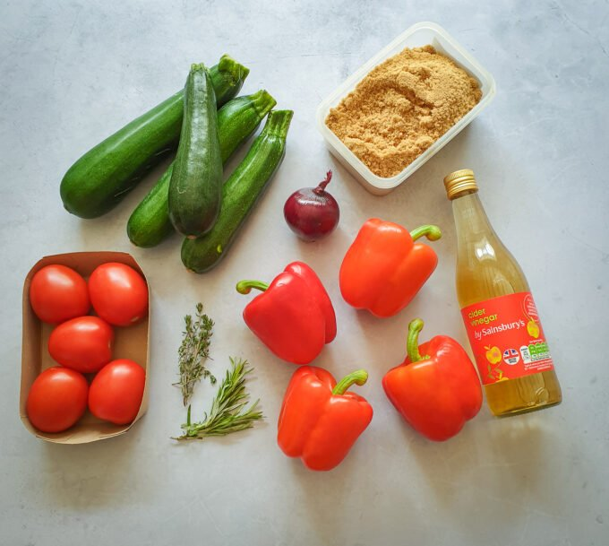 Courgette Chutney ingredients